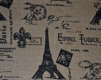 Jute Burlap Fabric French Script Paris