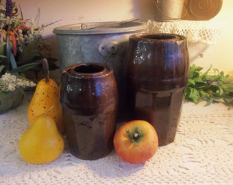 2 Antique Peoria Pottery Wax Seal Canning Fruit Jars  B95