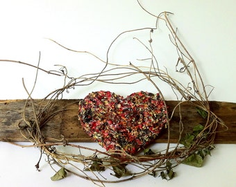 handmade original wood and plaster Heart, painted wall sculpture, collage art, red and gold, reclaimed wood, grapevine