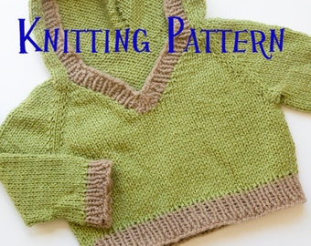 PDF Knitting Pattern - Woodland Hooded Pullover, Infant Sweater, Baby Toddler Hoodie Knitting Pattern, Baby Pullover Pattern