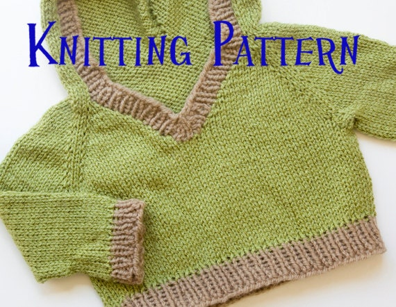 Toddler Hoodie Knitting Pattern : PDF Knitting Pattern Woodland Hooded Pullover Infant