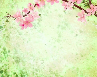 Green Grunge Cherry Blossom - Vinyl Photography Backdrop Floordrop Prop