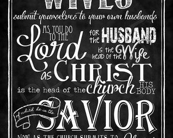 Scripture Art- Ephesians 5:22-24 Chalkboard Print