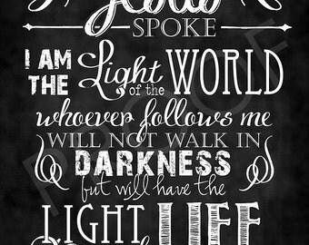 Scripture Chalkboard Art - John 8:12