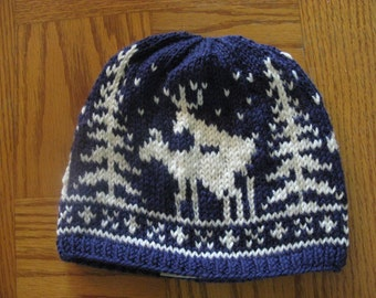 Pre-made Fornicating Deer Knit Hat - Blue with Cream