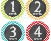 Chevron Baby Monthly Stickers unisex gender neutral Primary colors Milestone stickers-  print sticker