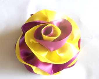 Hair Flower Barrette Plum and Yellow - Bridal Hair - Wedding - Bridesmaids - Formal Hair - Fascinator