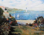 Lighthouse Beautiful Landscape Art TEXTURED Oil Painting on Canvas Contemporary Home Decor