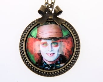 Alice in wonderland Necklace, mad hatter Necklace, 2525C