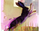 Hare Painting / Collage Art / Nature Print / Meadow Painting / Green Wall art