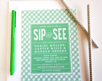 Sip n' See Baby Shower Invitation,Printable invitation, Printable Baby Shower Invitations, Baby Shower Invitation, Baby Shower Invite