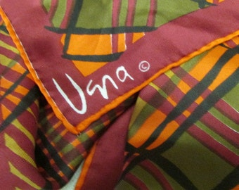 vtg Fall VERA SILK SCARF Mod Plaid Fall Colors 23 in square hand rolled hem Vera Neuman