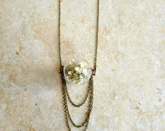 Bloomed Baby's Breath Draping Chain Necklace