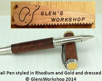 Rollerball Pen Collector Pen Handmade Executive Pen Rhodium Office Pen Gel Pen Figured Walnut Schmidt Ceramic Ball