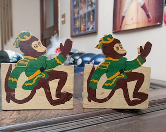 Vintage Wooden Hand Painted Monkey Bookends