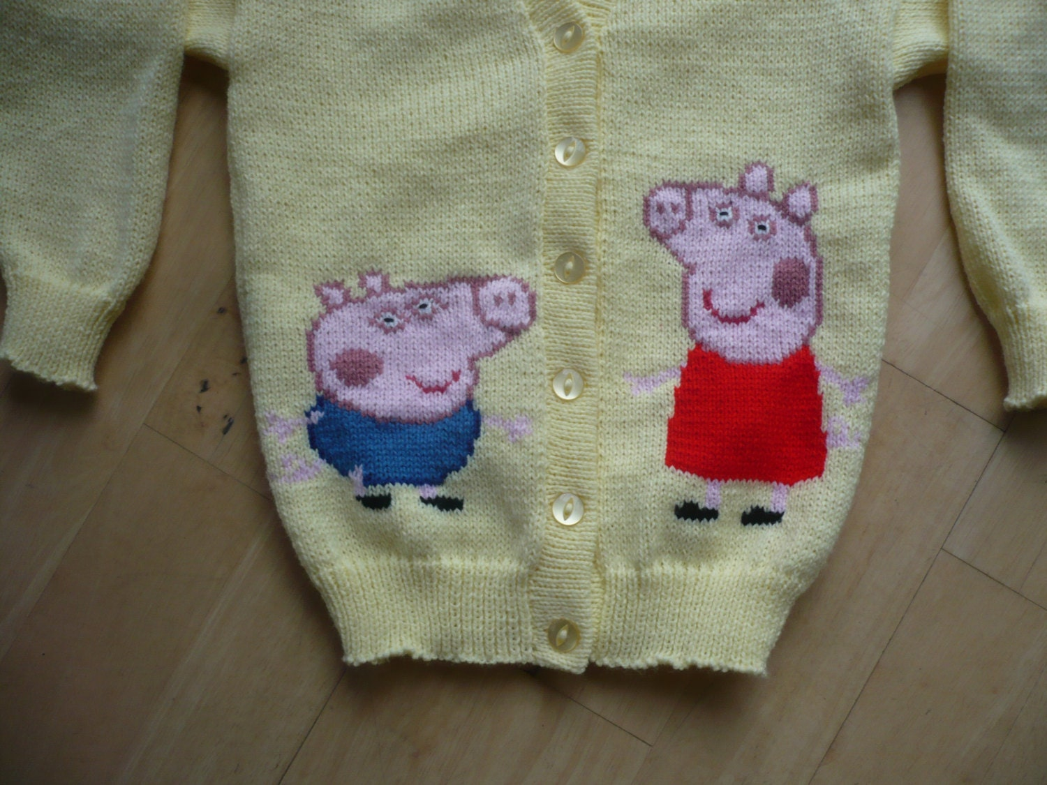 George Pig Knitting Pattern Jumper : Peppa Pig & George Cardigan Age 1 2 or 3 Knitted by juliesjumpers