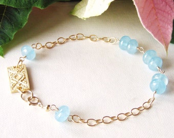 Aquamarine gemstone bracelet, smooth rondelle, gold jewelry, rectangle connector