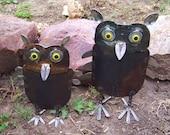 Ollie & Opal Owl Sculptures- Iron Anniversary Gift- Wedding Gift- Salvaged Metal Garden Art-   Love Birds- Horned Owls-