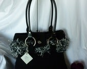 Black Felted Purse with Black Rolled Leather Handles