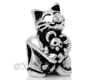 Cat And Mouse European Charm Bead - Large Hole Bead For All European Charm Bracelets - Gift Idea For Cat Owners