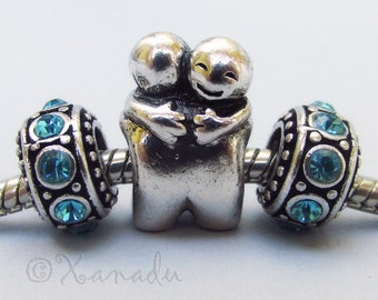 Hugging Friends European Big Hole Bead And Birthstone Spacer Charms For All European Charm Bracelets