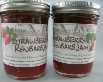 Two Jars Strawberry Rhubarb jam homemade by Beckeys Kountry Kitchen jelly fruit spread preserves