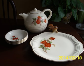 5 Pieces Vintage Universal Cambridge Pottery-Upico Ivory-Red Rose Tea Pot/Berry Bowls/Tab Handled Serving Plate/Platter