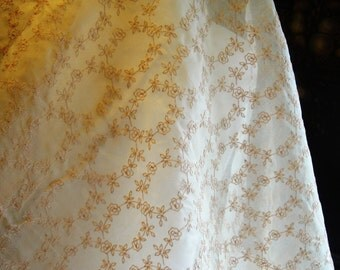 Vintage Gold /Champagne Silk Organza Embroidery Lace