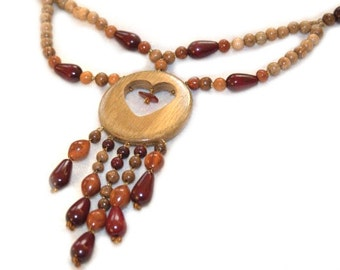 Wooden Pendant Heart with amber. Handmade wooden jewelry.