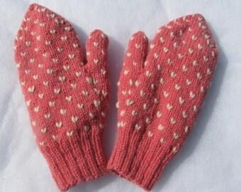 Women's Small and Medium Pink Thrummed 100% Wool Mittens