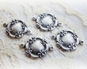 Antiqued Silver Ox Ornate Floral Victorian Connectors 19x14mm - 4