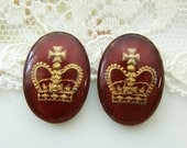 Vintage 18x13mm Intaglio Cabochon Dark Red and Gold Crown Glass Cameo Cabochon - 2