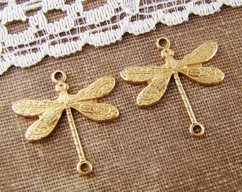 Vintage Style Ornate Raw Brass Dragonfly Connector 17mm - 4