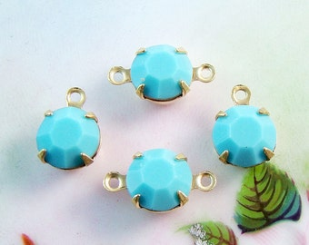 Opaque Turquoise Blue 8mm Round Swarovski Crystal Stones Brass Prong Drop or Connector Settings - 4