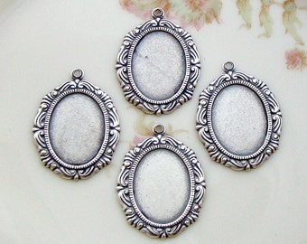 Antiqued Silver Ox 18x13mm Ornate Victorian Frame Setting Cameo Cabochon - 4