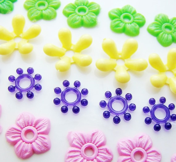 Vintage Pastel Plastic Stacking Flower Beads By