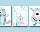 Monster Nursery Alphabet Nursery Baby Art Kids Art Baby Boy Nursery Wall Art Print Baby Boy Room Decor Kids Room Decor set of 3 Blue