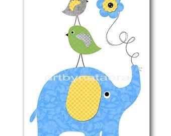 Elephant Nursery Art Nursery Decor Baby Boy Nursery Wall Art Children Room Decor Kids Decor Kids Art Baby Art Print Yellow Green Blue