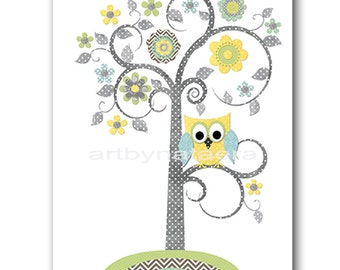 Tree Nursery Art Nursery Decor Baby Boy Nursery Wall Art Children Room Decor Kids Decor Kids Art Baby Art Print Yellow Gray Green Blue