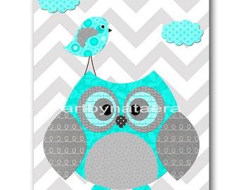 Kids wall art Owl Decor Owl Nursery Baby Nursery Decor Baby Boy Nursery Kids Art Baby Room Decor Nursery Print Boy Print bird gray
