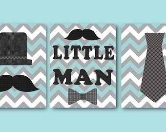 Little Man Kids Wall Art Baby Boy Nursery Art Decor Children Art Print Baby Nursery Print Nursery Print Boy Art Set of 3 Gray Blue Kids