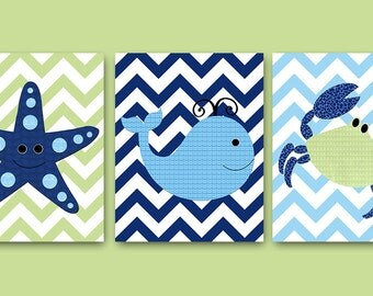 Blue Sea Whale Nursery Starfish Nursery Crab Nursery Baby Boy Nursery Art Nursery Wall Art Kids Room Decor Kids Art Boy Print set of 3