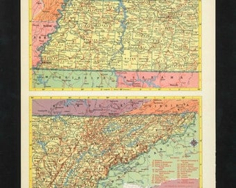 Vintage Map Tennessee From 1953 Original