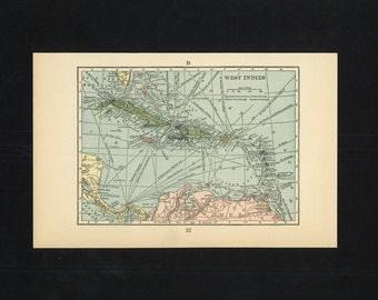 Vintage Map West Indies Cuba Jamaica Haiti Puerto Rico Caribbean From 1926 Original