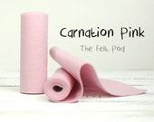 100 Percent Wool Felt Roll in color CARNATION PINK - 100% Wool Felt - Pink Felt