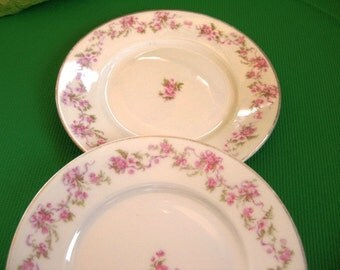 Antique Silesia Saucers Very Good, Silesia pink flowers very good, Set of 2