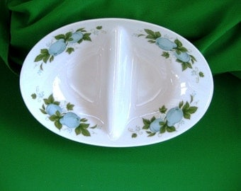 Noritake Divided Vegetable Bowl, Retro, Blue Orchard, Discontinued, Vintage China Great