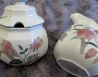 Mikasa Silk Flowers Creamer and Lidded Sugar bowl  Mint condition