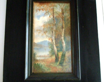 Antique 1880's Framed Watercolor Wooded Landscape Birch Trees Signed