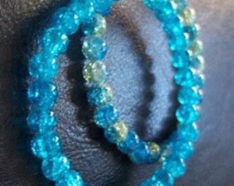 Set of (2) light blue and light green glass beads bracelet